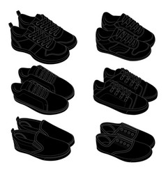 black line shoes sketches vector image