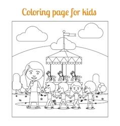 Coloring page for kids amusement park vector image