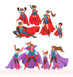 family of superheroes set smiling parents and vector image vector image