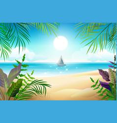 paradise tropical beach landscape coastline palm vector image vector image