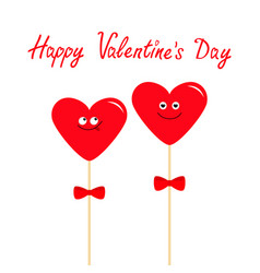 two red hearts on sticks with bows cute cartoon vector image vector image