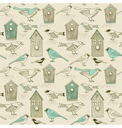 Vintage Bird house pattern vector image vector image