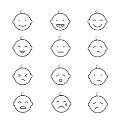 Baby smile face emoticons icons vector image vector image