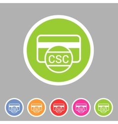 Csc card security code credit icon flat web sign vector
