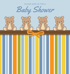 Delicate baby shower card with teddy bears vector image