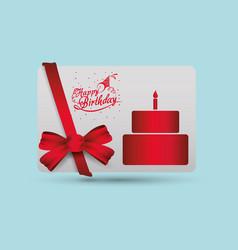 happy birthday card cake ribbon bow decorative vector image vector image