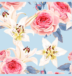 Roses and lilies seamless vector