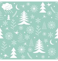 Seamless Christmas pattern green vector image