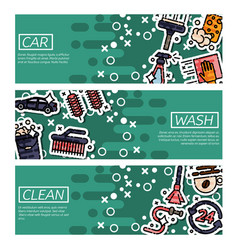 set of horizontal banners about car wash vector image vector image
