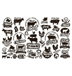 Butchery meat Set logos icons elements labels vector image