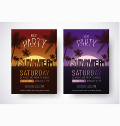 design of posters for a night summer party vector image