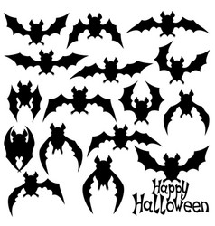 set of black bats vector image