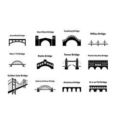 set of bridge landmark icons in silhouette style vector image vector image