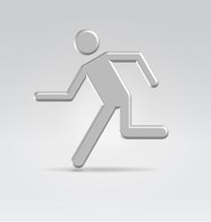 Silver exit running man icon vector image vector image