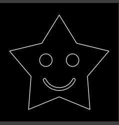 Smiling star white color path icon vector