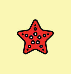 starfish icon thin line on color background vector image