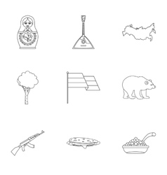 Tourism in Russia icons set outline style vector image vector image