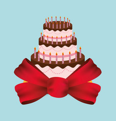 birthday cake red bow party vector image