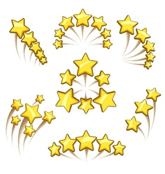 Golden stars design element set vector image