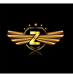 Letter Z winged crests logo Alphabet logotype vector image vector image