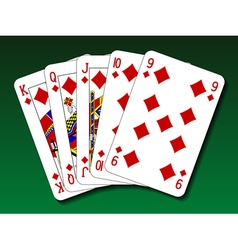 Poker hand - Straight flush vector image