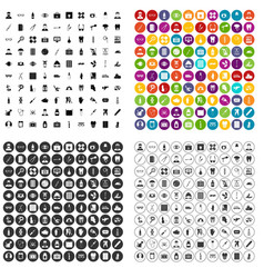 100 doctor icons set variant vector image