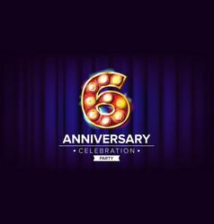 6 years anniversary banner sixth sixth vector