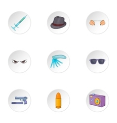Agent icons set cartoon style vector