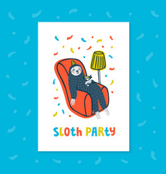 animal party lazy sloth party cute sloth vector image