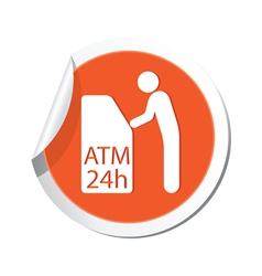 ATM cashpoint icon orange label vector image
