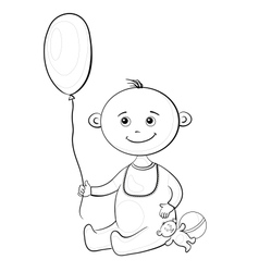 Baby with a toys contours vector image