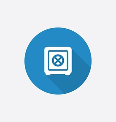 bank safe Flat Blue Simple Icon with long shadow vector image