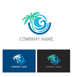 Beach palm tree ocean logo vector