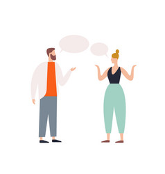 Bearded male talking to female with speech bubbles vector