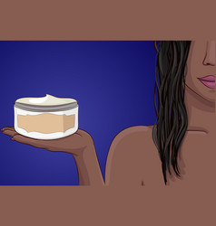 Black woman with wet hairs keep bottle mask or vector