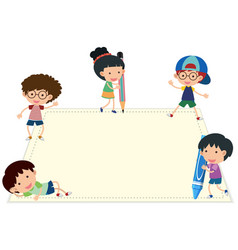 Border template with happy kids writing vector