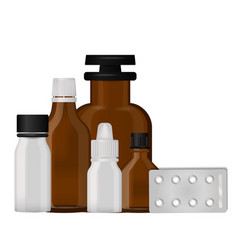Bottle pack template mockup blank pharmaceutical vector