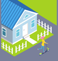 building with fence and lawn person on scooter vector image