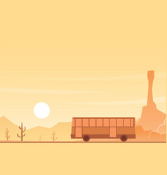Bus in a desert landscape scene vector