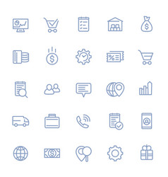 business e-commerce and retail line icons set vector image