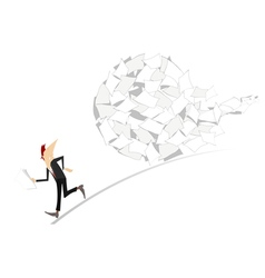 Businessman and big ball of documents vector