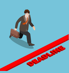 businessman run to deadline isometric vector image