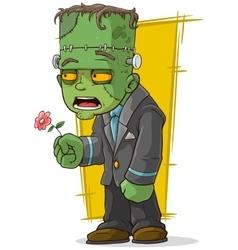 Cartoon green zombie monster with flower vector