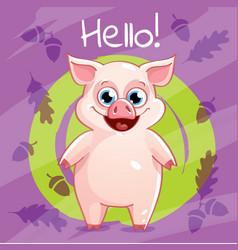 Cartoon pig hello vector