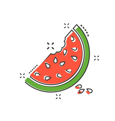 cartoon watermelon icon in comic style juicy ripe vector image