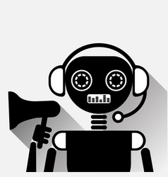 chatbot holding megaphone icon concept black chat vector image