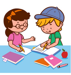 Children doing their homework on a desk vector