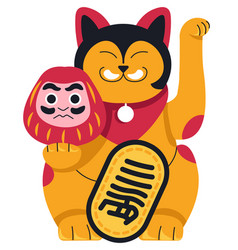 Chinese cat statuette with mask prosperity symbol vector