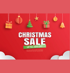christmas sale with gifts and elements hanging on vector image