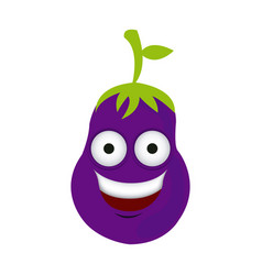 color kawaii happy eggplant icon vector image